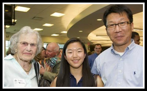 Susan Malloy (left) -- who has a Scholarship in the Arts named after her -- stands with Ashley Hyun and her father John. Ashley will attend Pratt, and hopes to be an artist or art educator.