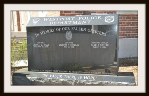 A monument outside police headquarters honors fallen officers.