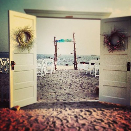 Every wedding needs a door for the bridge to walk through -- even on the beach. (Photo by Betsy P. Kahn)