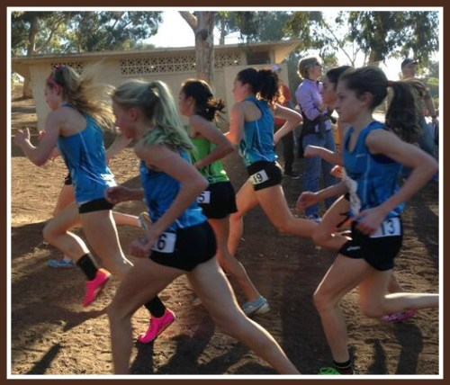 Hannah DeBalsi (far right) is near the front of the pack, at the start of today's national championship race. At the end, she was ahead of every runner but one. (Photo/Sara Bassett)