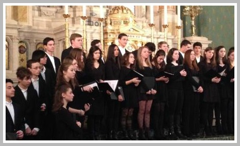 Orphenians rehearsing before their mass at St. Jean Baptiste Church. Luke Rosenberg is the conductor.