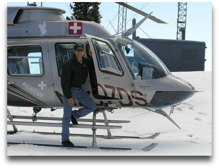 Doug Sheffer in his beloved helicopter.