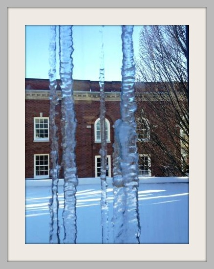 This was the view the other day from inside the Y. Don't worry -- the icicles were outside. It's plenty warm indoors!