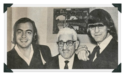 Westporters and Remains Barry Tashian (left) and Bill Briggs flank Staples music director John Ohanian in 1966.
