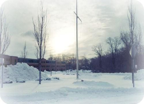 Staples High School in snow