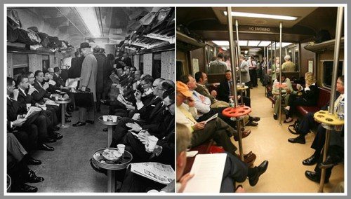 Bar cars in 1968 (left) and 2010. (Photo courtesy of the New York Times)