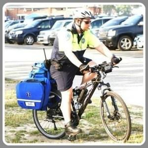 An EMS biker, in action.