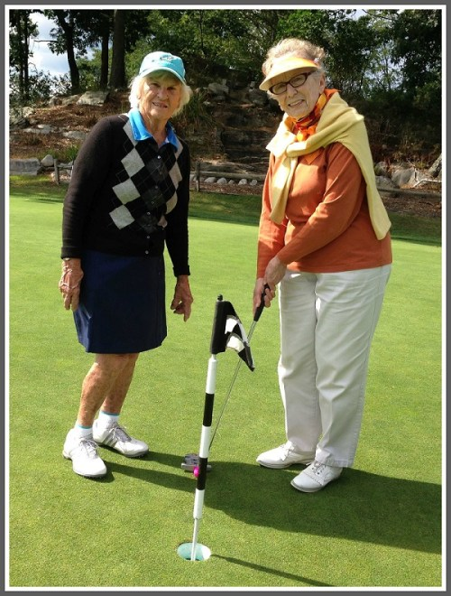 Anne Krygier (left) and Caryl Beatus, enjoying another day on the links.