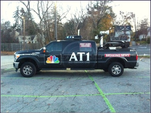 The media was there. TV crews quickly learned how to park their large vehicles in Westport.