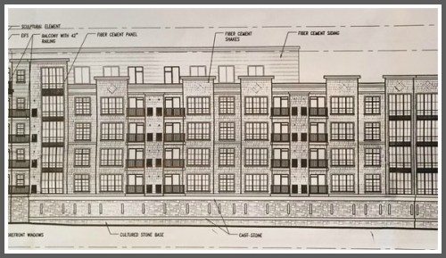 A drawing of the proposed 200-unit apartment complex, planned for the current site of the Westport Inn on Post Road East near the Southport line.