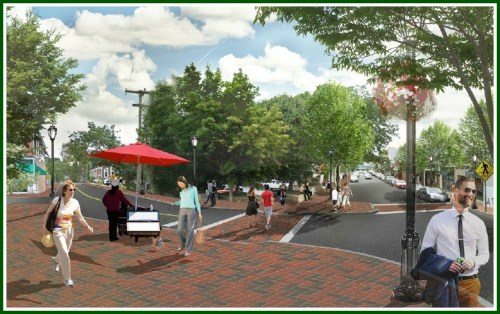 Modifications to Elm Street are shown in this rendering. The old Westport Pizzeria is on the right; Vineyard Vines is hidden behind trees at center.