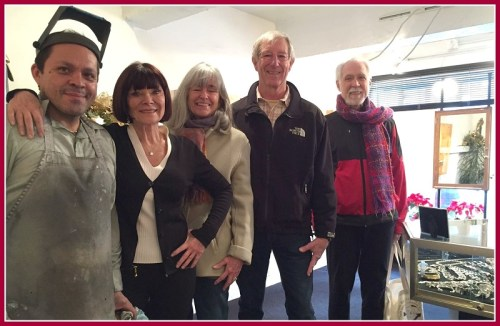 Sarah Kennedy (2nd from left) with assistant Eduardo Ewerton and admiring customers Rosemary and Steve Halstead, and Jim Stoner.