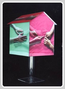 A lenticular birdhouse, by Miggs Burroughs.