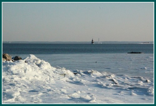 Long Island Sound. In the distance: the ice-encrusted lighthouse, and Research Island.