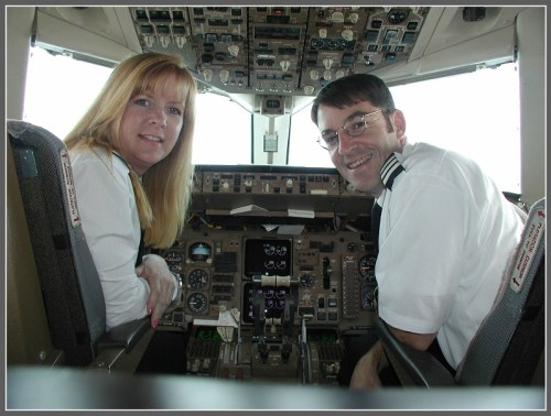 Peggy Lehn and her brother Tom, in the cockpit.