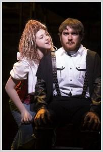 Sweeney Todd (Everett Sussman) and Mrs. Lovett (Juliet Kimble), in an intense scene. (Photo/Kerry Long)