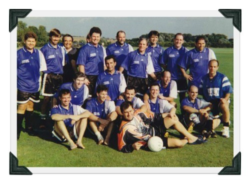 The Westport Late Knights on a trip to England, in 1999. Fred Cantor is in the front row, 2nd from left, between the two players whose hands are on their knees.