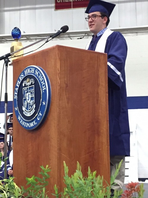 Valedictorian Everett Sussman earned praise for his insightful -- and quick -- speech.