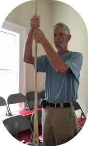 One of Bob Custer's many duties at Green's Farms Congregational Church is ringing the bell.