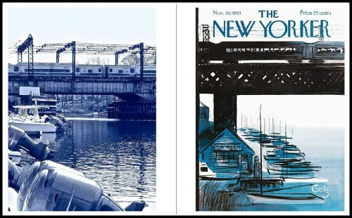 Train station New Yorker covers