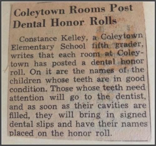 Coleytown El - Dental honor roll