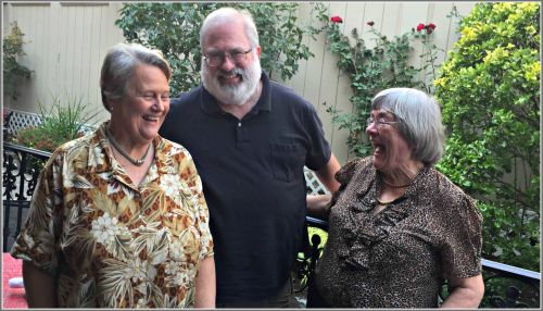 Linda Ogden, John Suggs and Mary Lou Schmerker share a laugh yesterday.
