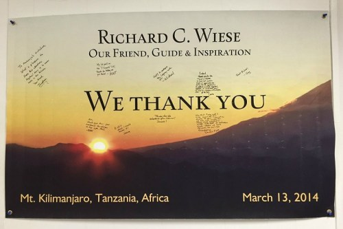 Richard Wiese first climbed Kilimanjaro at age 11. He's been back, as this poster in his office attests.