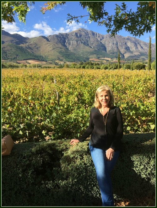 Hazel Malbin, in a South African vineyard. She returns to her native country next week.