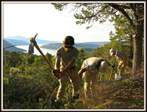 Nellie Stagg's team builds a trail in Ridgway, Colorado.