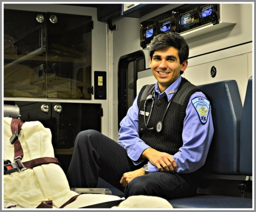 Jaime Bairaktaris, in an EMS ambulance. (Photo/Dorrie Harris)