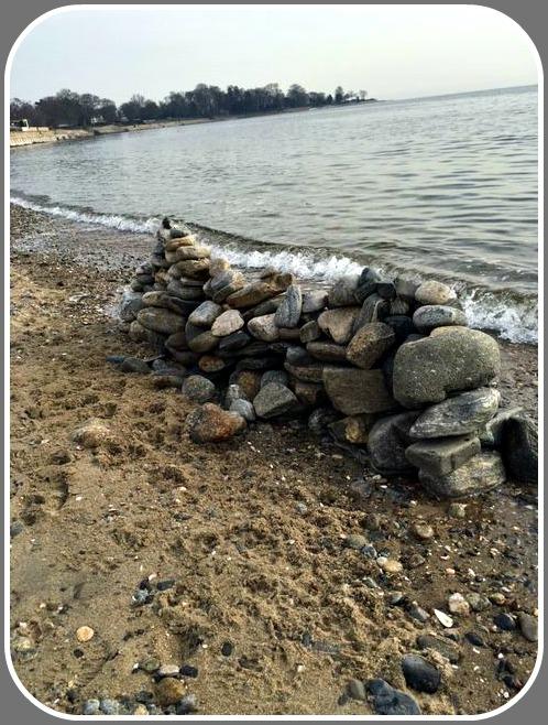 Rock sculpture at Burying Hill Beach