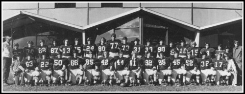 Ron Weir (standing, top left) and the 1972 Coleytown Junior High School football team.