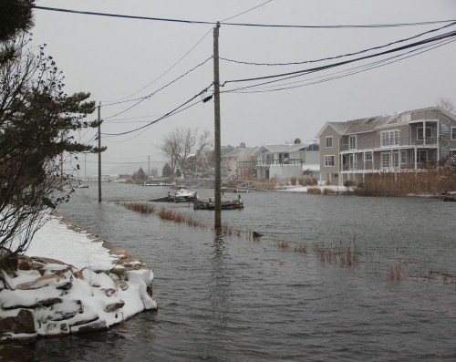 One view of high tide at Saugatuck Shores...