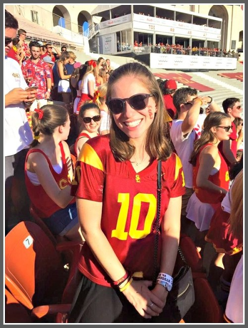Even before officially enrolling this spring, Zoe Brown enjoys a USC football game.