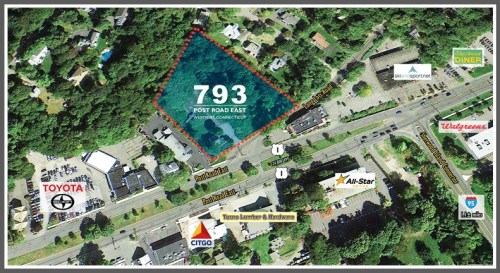 One of the sites Garden Homes says is available for apartments -- including affordable housing -- is 793 Post Road East. Located between New Country Toyota (left on map above) and the former Bertucci's (right), the site is zoned partially for business, partially for residence.