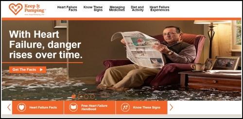 Adam Lubarsky, calmly reading a newspaper as water (representing heart failure) rises around him.