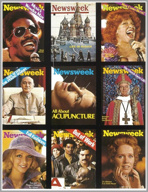A collection of Lawrence Fried Newsweek covers.