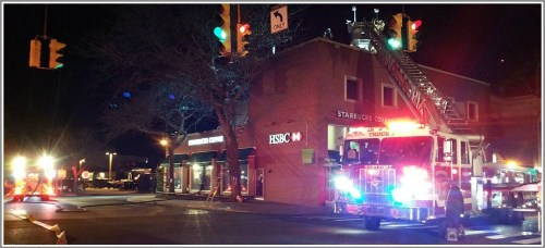 Many units responded to last night's fire at Starbucks and HSBC Bank. (Photo/Westport Fire Department)