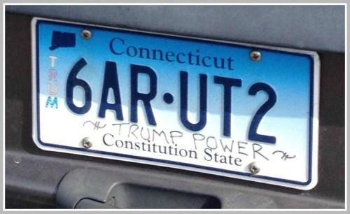 Trump license plate closeup
