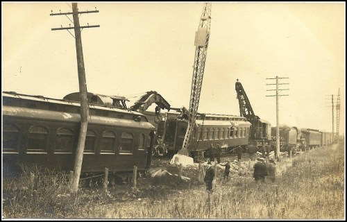 A long view of the Green's Farms train wreck.