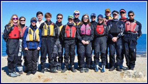 Team members include (front row, from left): Eloise Pieper, Zachary Steuer, Lucas Reichhelm, David Adipietro, Nicole Welch, Kelsey Collins, Harrison Ames, Max Haslett. Rear: Cecilia Adams, Charles Krawiec (co-captain), Peter Sauer, William Rudaz, William Dumke (co-captain), Robert Gordon, Burke Anvari.