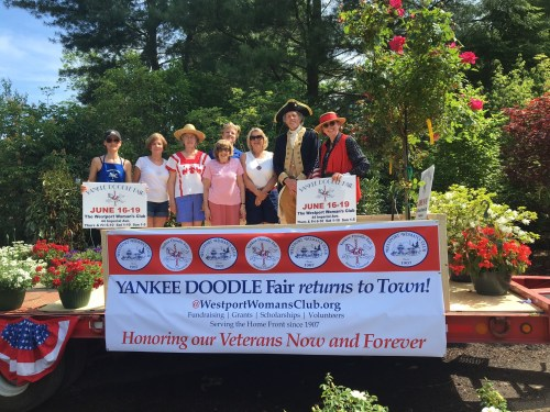 The Westport Woman's Club -- shown here in the Memorial Day parade -- has been helping Westport since 1907. (Photo/courtesy of Dorothy Curran)