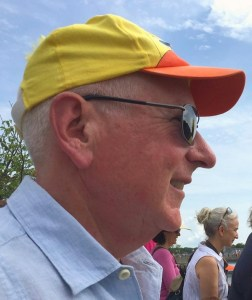 First Selectman Jim Marpe sports a Sunrise Rotary Great Duck Race hat. He himself is a member of the noontime Rotary Club.