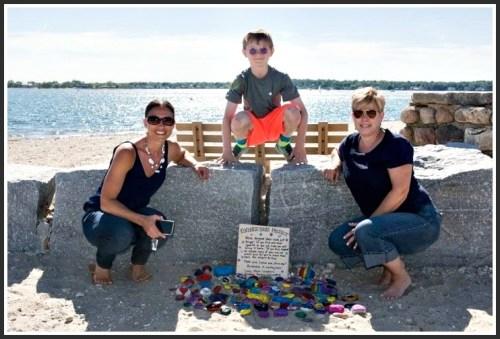 Long Neck Leaders (from left) Michelle DeCarlo, 4th grader Arthur Skatoff and Karen Frawley.