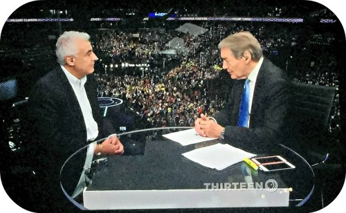 Mark Lasry and Charlie Rose talk about Hillary Clinton. (Screenshot/JP Vellotti)