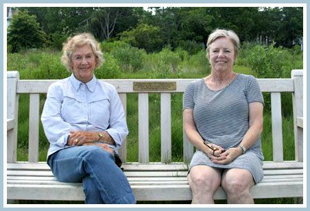 Mary and Bonnie Allen, on the family's bench.
