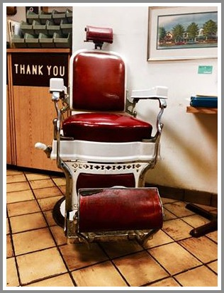 The announcement on Facebook included this photo of the barber chair in which owner Lee Papageorge traditionally sits.