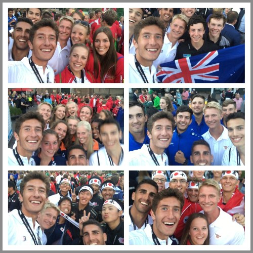 Harrison Burke (left) snapped selfies with other national rowing teams.