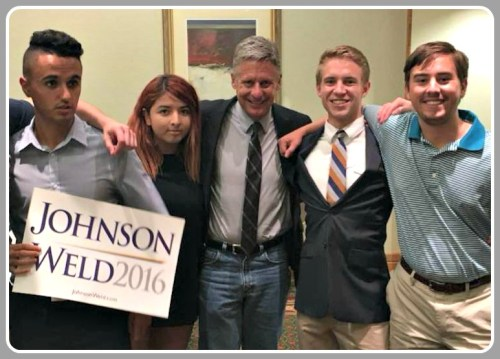 Campaign organizers with Gary Johnson (center) include Will Mennie (2nd from right) and University of Arizona treasurer Julian Cohen (far right). Julian is from Weston.