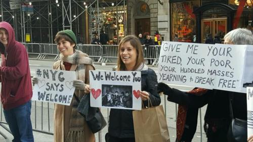 ... but all had a welcoming message for refugees.